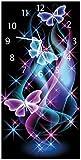 Wallario Design Wanduhr Schmetterlinge in Bunten, strahlenden Farben aus Acrylglas, Größe 30 x 60 cm