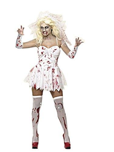 MIXLOT Frauen sexy erwachsene blutige Krankenschwester und blutige Braut Halloween Kostüm furchtsame gruselige Kostüm Größe S-XL (Large, blutige braut)