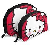 Shy Hello Kitty Trousse da viaggio Borse da viaggio Borsa a conchiglia piccola Borsa da toilette portatile Pochette da 2 pezzi