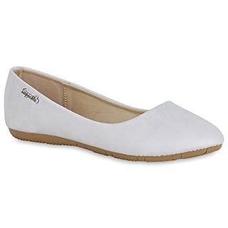 Klassische Damen Ballerinas Leder-Optik Flats Übergrößen Flache Slipper Spitze Prints Strass Schuhe 139516 Hellgrau 38 Flandell