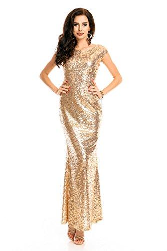 Mayaadi langes Paillettenkleid für Partys Cocktailabende und festliche Anlässe WJ-7259 Gold S