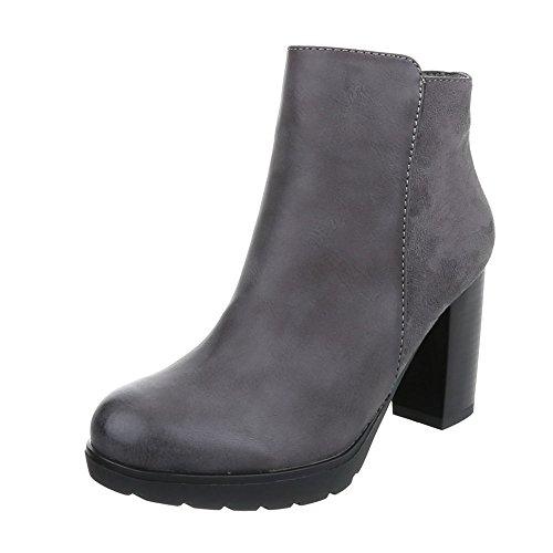 Ital-Design High Heel Stiefeletten Damen-Schuhe Schlupfstiefel Pump Moderne Reißverschluss Stiefeletten Grau, Gr 38, Zy9095-