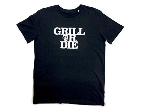 GRILL OR DIE® T-Shirt ★ schwarz mit weissen Aufdruck in Premium-Qualität ★ BBQ Grill Zubehör (XL, schwarz)