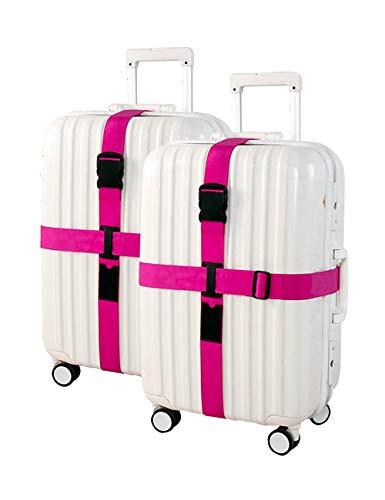 besbomig Kreativ Gepäckgurte Personalisiert 2er Pack - Laufkatze Krawatte Verdicken Bündel mit Kreuz Packgürtel Gepäcksicherheit Verstärkte Bindung (Wheel Rosa Cover)