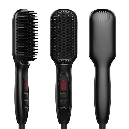 Bartglätter, Haarglätter Bürste für Frauen und Männer, einstellbare Temperaturen Anti-Verbrühungs-Bartglättungsbürste mit LCD-Display-Bartkamm für zu Hause und unterwegs (Black) - Großen, Glatten Gesicht