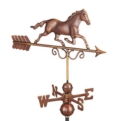 Good Directions 1974BRN Galoppierendes Pferd Bronze Wetterfahne, reines Kupfer, handgefertigt, Edelrost Pure Copper Hand Finished Bronze Patina