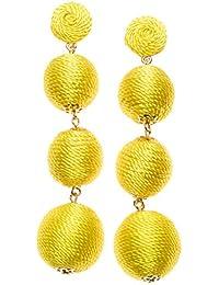 Happiness Boutique Damas Pendientes Oscilantes en Color Amarillo | Pendientes de Lágrima con Pompón Diseño de Bola Triple