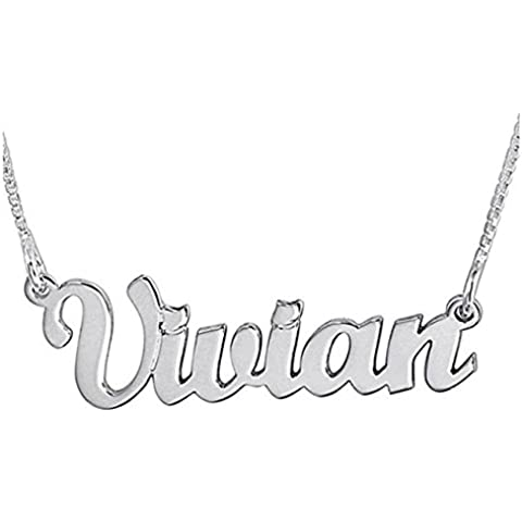 Hacool Colgante de collar personalizado en plata esterlina 925 hecho a medida con un nombre