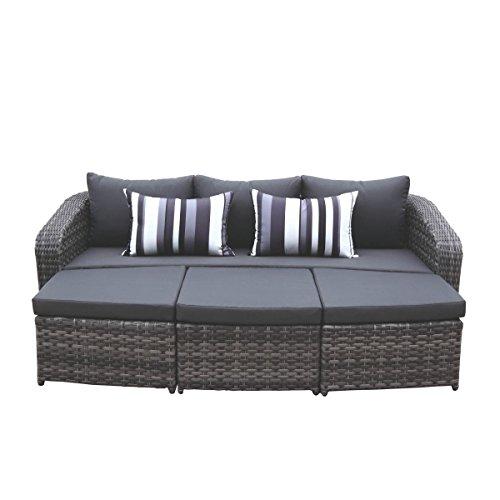 MG Collection Lounge Set 4tlg. Polyrattan/Geflecht Grau Gartensofa Loungemöbel Loungeset Loungegruppe (Sofa + 2 Hocker + Tisch) Textilene Schwarz (Faser-stützkissen)