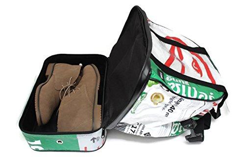 Weekender 38 x 24 x 40 cm Recycling Tasche Sporttasche Saunatasche mit Nassfach Naßfact Duffle Bag Dufflebag Reisetasche aus Gewebeplane Sporttasche Thailand Zementsack Siambag Upcycling (Red Elephant Silver Eagle