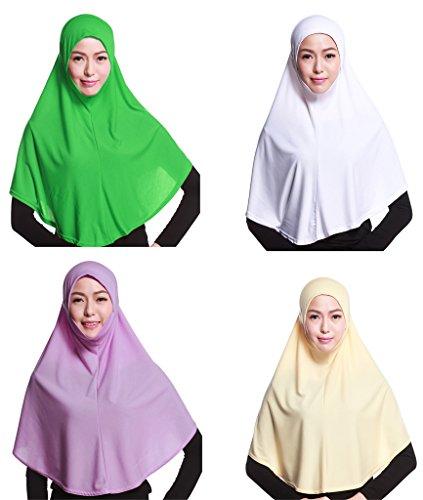 GladThink 4 X Pleine Couverture Femmes Musulmanes Hijab Caps Foulards Islamiques W+Beige+Lavande+vert