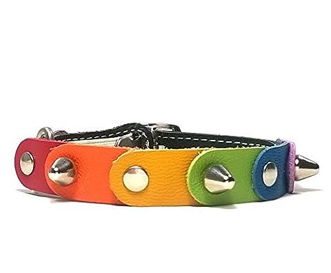 Leder Katzen-halsband mit Elastisch Sicherheitsverschluss | Einzigartiges Leder mit den Freiheits Regenbogen Farben