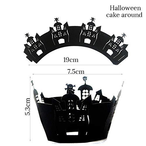 Papier Cupcake Wraps, 12Pcs Halloween Motif Hollow Out Wraps pour cupcakes Muffin Coque support Décoration Fournitures pour la maison fête d'Halloween Cafe, Noir, Voir image, 3