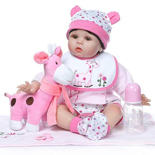 ealistische Weiche Sanfte Berührung Silikon Vinyl Wiedergeboren Puppe 55 cm Kleine Rosa Giraffe Gefüllte Stoff Körper Neugeborenen Baby Puppen für Mädchen Kindergeburtstag ()