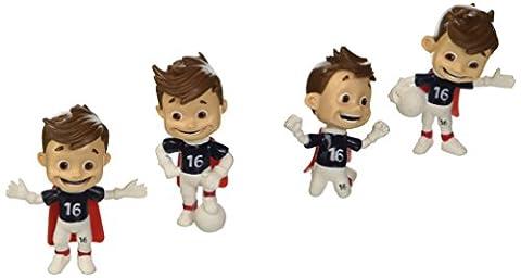 UEFA EURO 2016 - Figurines a Collectionner Lot de 4 Mascotte Variante 1 - 6 cm figurines