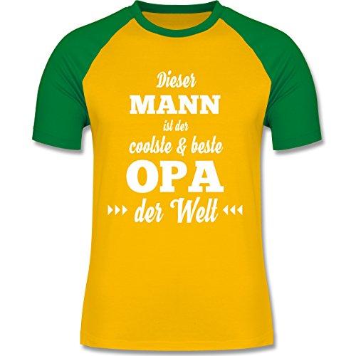 Shirtracer Opa - Dieser Mann ist der Coolste und Beste Opa - Herren Baseball Shirt Gelb/Grün