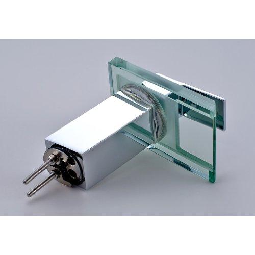 Auralum® LED RGB 3 Farbewechsel Glass Wasserhahn Chrom Wasserfall Waschtischarmatur Armatur für Bad Badenzimmer Waschbecken - 3