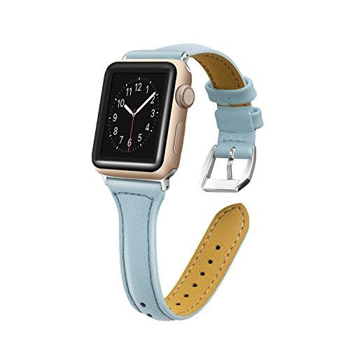 Vialavida per cinturino apple watch 38mm 42mm per donne uomini, braccialetto ricambio in vera pelle band orologio per iwatch nike+, edition, series 4 3 2 1, 5 colori disponibili