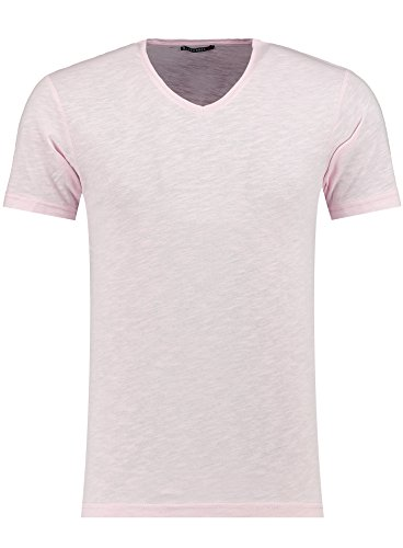 Herren T-Shirt - V-Ausschnitt - Slim-Fit/Figurbetont - Oversize - Meliert - Modernes Kurzarm Vintage Shirt Rosa Small