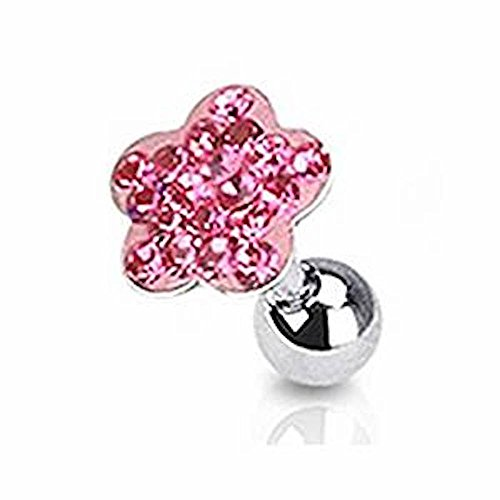 Pink Crystal Cluster Daisy Blume Tragus oder Knorpel Piercing Dicke: 1.2mm Länge: 6mm Material: (Blume Kostüme Daisy Hund)