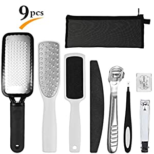 PRETTY SEE 8 in 1 Foot File Professional Pedicure Kit Pedicure Hard Skin Remover for Household Foot Care,Stainless Steel File
