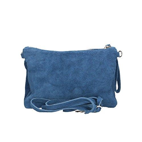 Chicca Borse Borsa a tracolla in pelle 24 x 17 x 4 100% Genuine Leather Blue