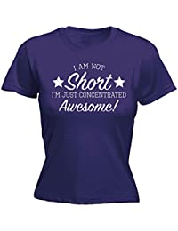 18757a63 123t Women's I Am Not Short I'm Just Concentrated Awesome - Fitted T-