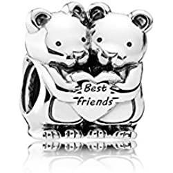 Abalorio de oso de peluche de oso polar para bebé, niño y niña, compatible con pulseras Pandora de plata de ley 925