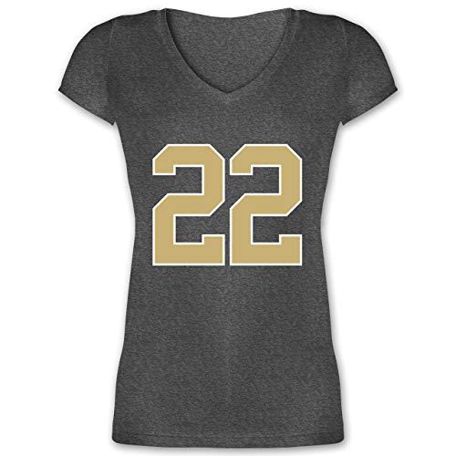 American Football - Football New Orleans 22 - S - Anthrazit meliert - XO1525 - Damen T-Shirt mit V-Ausschnitt