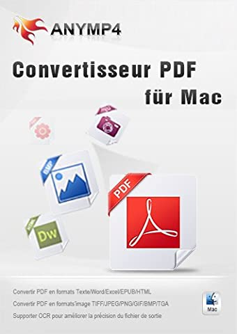 AnyMP4 Convertisseur PDF pour Mac - Convertir PDF en formats de document modifiables (Texte/Word/Excel/PowerPoint/ EPUB /HTML, etc.) et d'image largement utilisés (JPEG, PNG, GIF, TIFF, etc.) sur Mac [Téléchargement]