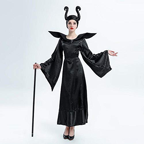 Damen Halloween Kostüm schlafen Schwarze Hexe Kostüm dunkle Zauberin Buchstabieren Cosplay Kostüm ()