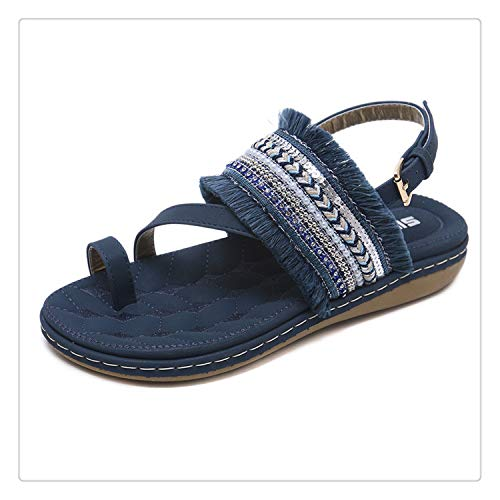 Sandals Women Shoes Women's Sandals Flat Buckle Strap Casual Fashion Sandalias Mujer 2018 De Verano para Fringe Shoes Woman Shoe Blue 41
