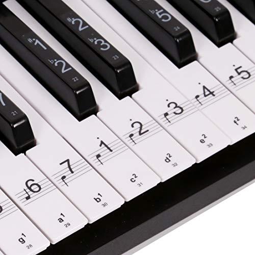 Klavier Keyboard Aufkleber für 54/61 / 88 Tasten Noten [ Gratis Ebook ] Piano Sticker für weiße & schwarze Tasten Transparent und abnehmbar (Schwarz)