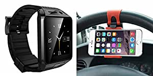 Smart Watch & Sterring Holder for PANASONIC P5 1(Sterring Holder,Mobile Holder & Bluetooth DZ09 Smart Watch Wrist Watch Phone with Camera & SIM Card Support Hot Fashion New Arrival Best Selling Premium Quality Lowest Price with Apps like Facebook, Whatsapp, Twitter, Sports, Health, Pedometer, Sedentary Remind & Sleep Monitoring, Better Display, Loud Speaker, Microphone, Touch Screen, Multi-Language, Compatible with Android iOS Mobile Tablet-Silver Color)