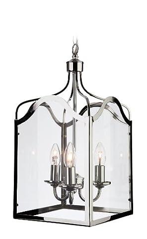 Firstlight E14 Small Edison Screw 40 Watt Monarch Lantern 3 Light, Chrome with Clear Glass