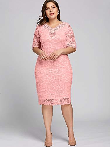 GMZVV Rock Größe V-Ausschnitt Halbe Hülsen-Spitze Kleid Damenmode Arbeiten Damen Kleider große Größe gekleidet mit Temperament und Eleganz 5XL rosa
