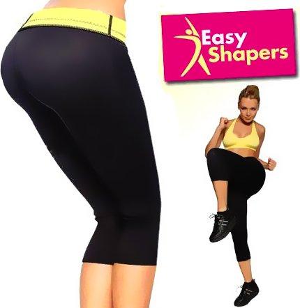 Easy Shapers - figurformende Fitness Schwitzhose - stützt, strafft und formt die Figur, sofort sichtbar schlanker - schwarz - Gr. L (42-44)