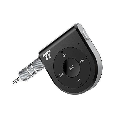Bluetooth Empfänger AUX Adapter 4.1 15 Stunden TaoTronics Bluetooth Receiver, One-Click Siri Aktivierung, Rauschunterdrückung mit zwei Mikrofonen DSP und CVC 6.0 für deutliche Anrufe (Pc-bluetooth-empfänger)