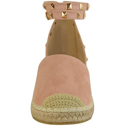 Sandales avec lanières - style espadrilles/rock - à clous/bride cheville - femme Faux suède rose pastel/corde