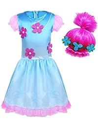 iiniim Disfraz Infantil de Princesa Niña para Halloween Fiesta Ceremonia Cumpleaños Vestido Folr con Peluca Rosa