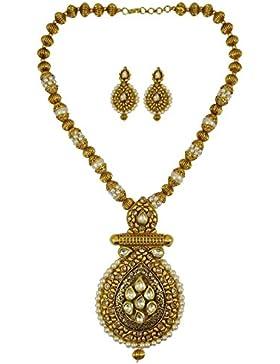 Matra Traditionelle Goldton Indian Brautfrauen 2 Stück Kundan Perlen Halskette Set Schmuck