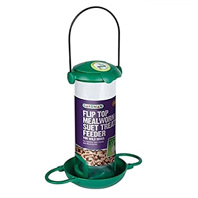 Gardman A04298 Flip Top Mealworm & Suet Pellet Treats Feeder for Wild Birds by Gardman