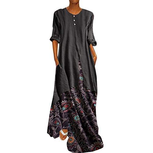 Damen Vintage Leinen Kleider Mode Sommer Langes Kleid Freizeit Kleid Blume Gedruckt Patchwork GefäLschte Zweiteilige BeiläUfige Oansatz Kaftan Kleid Luftiges Kleid Florydays Kleider Z-Braun1 5XL -