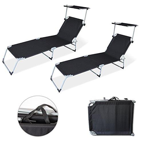 HG® Gartenliege Sonnendach Liegestuhl Freizeitliege Sonnenliege Strandliege Schwarz mit 2x