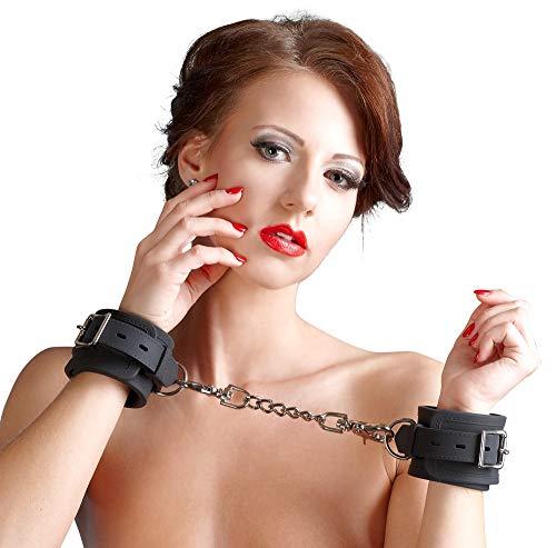 Bad Kitty Handfesseln Silikon - Bondagefesseln mit Kette aus Silikon, Handgelenkfessel für Frauen und Männer, verführerische Fesselspiele, schwarz