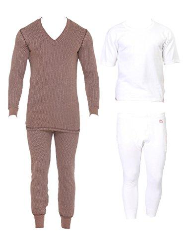 Vimal Blended Multicolor Thermal Top-pyjama Set For Men (pack Of 2)