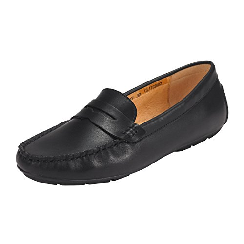 JENN ARDOR Penny Loafers für Frauen: Vegan Leder Slip-on Komfortable Driving Mokassins Wohnungen- Schwarz (Mokassins Leder Loafer)