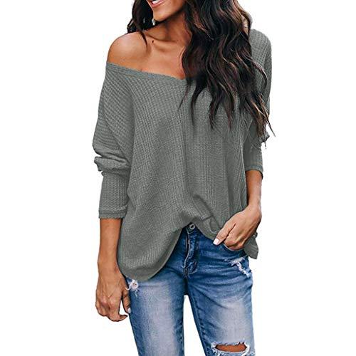 GOKOMO Damen Langarm Lose Bluse Hemd Shirt Oversize Sweatshirt Oberteil Tops(Grau,X-Large)