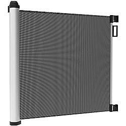 Leogreen - Barrière de Sécurité Bébé Barriere Chien pour Escalier et Porte, Barrière de Sécurité Extensible et Enroulable 0cm - 125cm, Système de Verrouillage d'une Main, Installation Facile