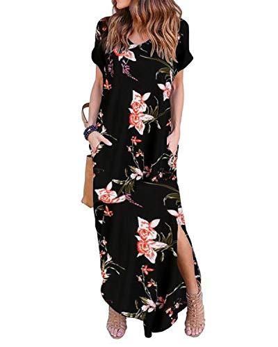 VONDA Damen Kleid Kurzarm Sommerkleid Rückenfrei T-Shirt Lange Kleider Sexy Freizeitkleid Schwarz&Rosa S